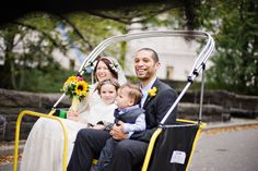 this couple's wedding guests were their small children - and they arrived in style!