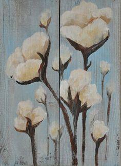 Cotton Field Hand Painted on Reclaimed Wood by heartifactsgallery Arte Pallet, Pallet Art, Pallet Painting, Painting On Wood, Pallette, Cotton Painting, Bd Art, Cotton Decor, Arte Popular
