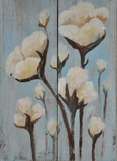 Cotton Field Hand Painted on Reclaimed Wood Rustic. $49.00, via Etsy.