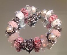 Perfect pink and roses bracelet by Valerie Perry Stasalovich using TB and RBF.