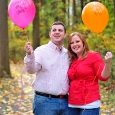 Balloon Save the Dates, a fight in the leaves, and a baseball dugout makeup this adorable e-shoot!