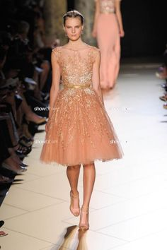 Elie Saab peach tulle with gold embroidery adorable for bridesmaids