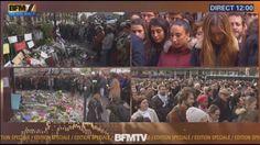 La France s'est figée lundi à 12H00 pour une minute de silence observée en hommage aux victimes des attentats de Paris et de Saint-Denis, les plus sanglants de son histoire, avec au moins 129 morts et 352 blessés. Les drapeaux, mis en berne depuis dimanche, le seront jusqu'à mardi, en vertu d'un deuil national de trois jours décrété samedi par le président François Hollande. Cette mesure exceptionnelle avait déjà été appliquée après les attentats de janvier. Le chef de l'Etat a choisi la…