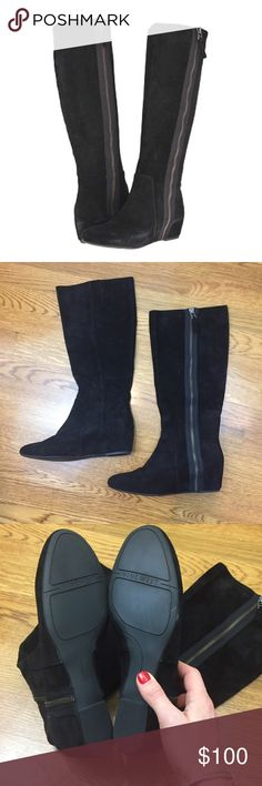 "NWOT Nine West Maleficent Black Suede Boots These sleek boots are sure to get you noticed! Side-zip closure, rich suede upper. Lightly cushioned man-made footbed with hidden wedge heel. Heel height is 3"" with a 15"" shaft. These have never been worn and are in perfect shape! Size 8 and fit true to size. Nine West Shoes Heeled Boots"