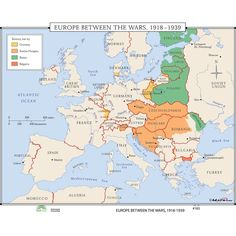 Universal Map World History Wall Maps - Europe Between Wars | Wayfair World History Map, World Map Europe, European History, Roman Empire Map, National Geographic Maps, Teacher Created Resources, Classroom Walls, Alternate History, Wall Maps