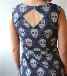 Looking for latest back neck designs for kurtis? Here are 15 super stylish back neck patterns for you to try and stay in trend.Belladone dress from Deer and Doe patterns, in a Michael Miller fabric skull damask Kurti Back Neck Designs, Chudithar Neck Designs, Chudidhar Designs, Neck Designs For Suits, Kurta Neck Design, Sleeves Designs For Dresses, Neckline Designs, Blouse Neck Designs, Fancy Blouse Designs