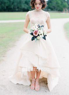 Ivory Vintage Lace Hi-Lo Wedding Dresses Sexy Sheer Bridal Gown Custom Romantic