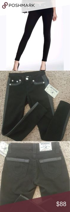 TRUE RELIGION JEANS NWT NWT true Religion jeans black with leather trim True Religion Pants Skinny