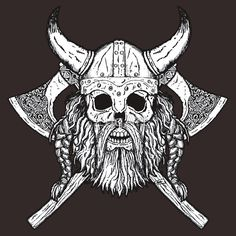 Bearded Viking Skull