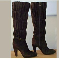 """PRADA suede high knee ruched boots Size 35  Authentic Prada boots in a size 35 which is an approx US?5  Excellent condition! Only worn a couple of times.  Purchased at Barneys New York  Suede leather uppers. Leather lining & sole. dark chocolate brown Heel Height: 4"""" Platform: .75"""" Calf (around the inside): 13.25"""" almond toe ruched inner side zip closure buckle detail Comes with original box & a Prada dust cover for each boot.  Minimal sole & heel wear.  A scuff or two.  One of the dust…"""