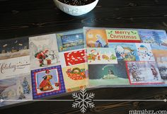 Recycled Christmas cards turned into holiday placemats. What a cute idea!