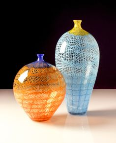 Colored Chantily Lace Vase - Frost Glass