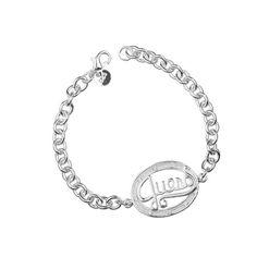 nykkola Armband 925er Modeschmuck 925Sterling Silber Armband Schriftzug Love versilbert Armreif