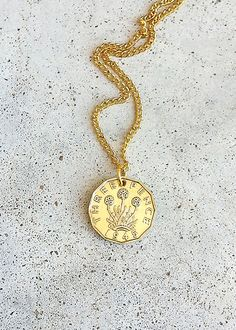 Vintage NECKLACE 1945 BRITAIN British Three Pence by bleustuff1, $7.99