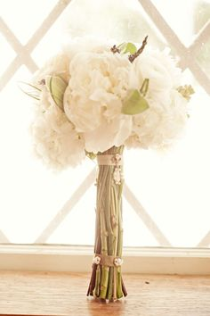 white peony and lavender bouquet