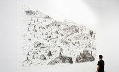 Matías Duville, Garimpo, 2009 Charcoal on paper 300 x 700 cm