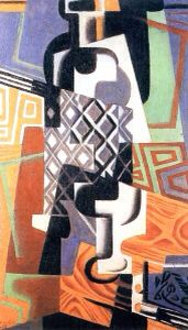 Cubism. Bottle and Glass, 1917 // painting by Juan Gris (spanish, 1887-1927)