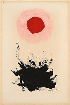 """Adolf Gottlieb """"Untitled""""; works on paper (drawing, watercolors, etc.), ink, and gouache on paperboard; 14.9 x 10 in; 1961"""