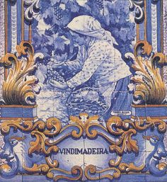 """Vindimadeira"" detailed azulejo mural, Douro valley."