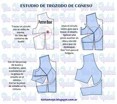 KiVita MoYo: ESTUDIO DEL TRAZADO DE CANESU Vintage Sewing Patterns, Clothing Patterns, Dress Making Patterns, Pattern Making, Sewing Hacks, Sewing Tutorials, Sewing Courses, Sewing Lingerie, Donia