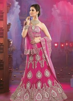 Hot Pink net fabric bridal wedding lengha choli