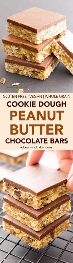 No Bake Vegan Chocolate Peanut Butter Oatmeal Cookie Dough Bars #GlutenFree #DairyFree | BeamingBaker.com