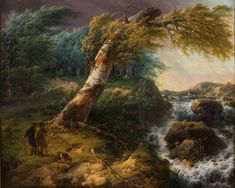 Gerard van Nijmegen - Landschap in de storm (1804) (Landscape in a storm)  I love this painting in its use of colours and how different elements of the painting direct you to the mountains with the clear and open sky in the back. The storm suggests peace.