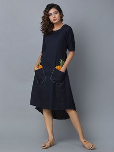 f0a8c48fc9 Buy Navy Blue Cotton Linen High Low Dress online at Theloom