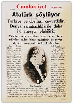 ATATÜRK SÖYLÜYOR: cumhuriyet gazetesi 20.03.1937