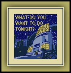 Free Pinky and the Brain Cross Stitch Pattern Animaniacs Quote Acme Labs