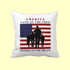 USA Flag Soldiers Silhouette Decorative Patriotic Pillow by XG Designs NYC. $59.95 #military #patriotic #pillow
