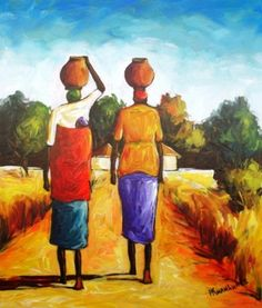 Acrylic Painting - Fetching Water by Peter Kwangware - South African Artist Painting Lessons, Artist Painting, South African Artists, Types Of Art, Pallets, Paper Art, Folk Art, Islands, Caribbean