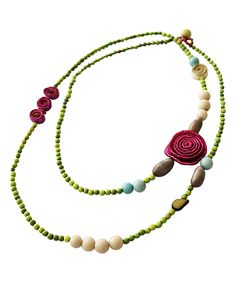 Look at this Calamarie Pink & Apple Green Floral Beaded Necklace on #zulily today!