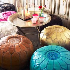 Moroccan Leather Pouffes....Better direct from Djemaa el Fna Square in Marrakesh...but I appreciate the bright colours and general awesomeness of sitting on the floor.