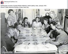 Quilting bee in the home of Jesse White Anderson. North Liberty, Iowa - Jan 1951.