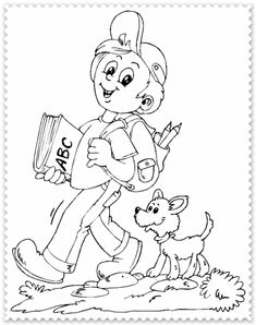 schoolboy walking dog coloring page Dog Coloring Page, Cool Coloring Pages, Coloring Pages For Kids, Boy Walking, Pattern Coloring Pages, Les Themes, Scrapbook Designs, Children Images, School Boy