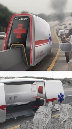 A band of Korean designers created the Median AMB, a special ambulance that can directly reach the point of the accident without getting … Futuristic Technology, Futuristic Cars, Technology Design, Futuristic Architecture, Technology Gadgets, Architecture Design, Floating Architecture, Spy Gadgets, Futuristic Design