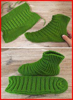 Easy Two Needle Ribbed Slipper Socks – Free Pattern Free Knitting… – Knitting Socks İdeas. Beginner Knitting Projects, Easy Knitting Patterns, Knitting Stitches, Knitting Socks, Free Knitting, Baby Knitting, Knitting Ideas, Knit Slippers Free Pattern, Crochet Shoes Pattern