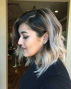 Love that ash blonde color with the dark roots and slightly layered bob  pinterest: @qqueennvee