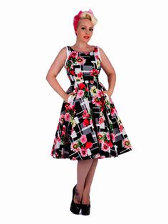 209cbd20999a Hearts & Roses of London Dinah Daisy Swing Dress Retro Pinup Pockets Modest
