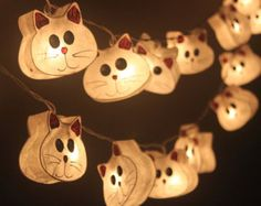 cat light strings | 20 Cats - Paper Lantern String Lig hts for Home Decoration,Wedding ...
