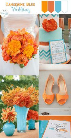 Tangerine Blue Wedding Inspiration - KnotsVilla