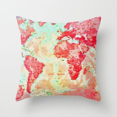 Pretty Map of the World Pillow.