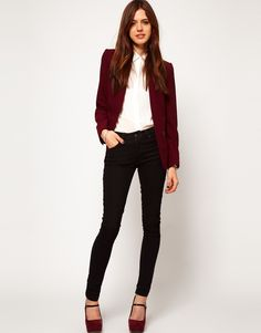 accent texture and colour blazer, goes very well withe stud oxblood shoes ( topshop )