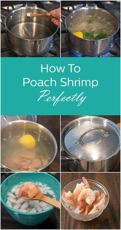 The BEST way to cook shrimp is to poach them gently. They end up delicate and so juicy. Learn this simple method for poaching shrimp here. Shellfish Recipes, Shrimp Recipes, Ways To Cook Shrimp, Salmon And Shrimp, Great Recipes, Favorite Recipes, Boiled Food, Dinner Entrees, Cooking Recipes