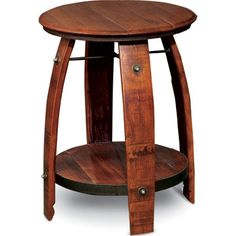 The Barrel Side Table features an authentic branded barrel head top, <br />barrel stave legs, and a hand forged wrought iron cross and support ring <br /> which forms the lower shelf. Available in your choice of finish options. Made in the USA.