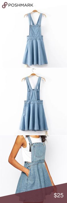 Cute denim overall suspender dress skirt! This cute denim overall suspender dress comes in light wash. It fits like a dress, so if you're a small in a normal dress, this would be a small for you to buy, medium and large so on! So cute to layer with a cute oversized shirt underneath!  ✅FREE UNITED STATES SHIPPING✅ tags// tumblr grunge American apparel summer Spring winter pacsun American eagle urban outfitters tee shirt vintage modern cute relax Tommy Hilfiger tommy jeans tommy girl Tom…