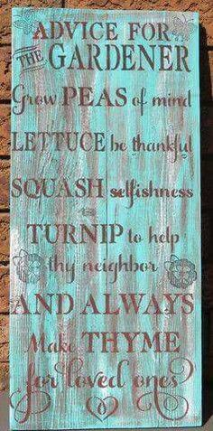 SIGN/ ADVICE For The Gardener/Garden Shed Sign/Potting Shed Sign/Outdoor Sign/Humorous Garden Sign Advice for the Gardener sign by KimburCreations on EtsyAdvice for the Gardener sign by KimburCreations on Etsy Diy Garden Projects, Garden Crafts, Garden Ideas, Garden Art, Glass Garden, Garden Club, Diy Crafts, Craft Projects, Gnome Garden