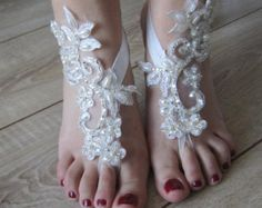 Ivory Lace barefoot Sandals,Lace shoes, Beach Wedding sandals, beach sandals, Beach shoes,Wedding accessory
