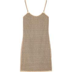 Diane von Furstenberg Alvera metallic guipure lace mini dress ($480) ❤ liked on Polyvore featuring dresses, tops, gold, short lace dress, brown dress, lace cocktail dress, floral print dress and metallic dress